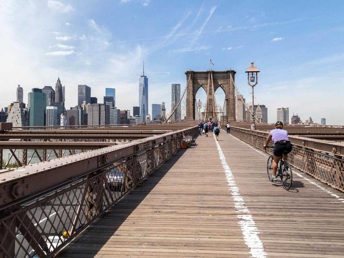 Cycle over the Brooklyn Bridge on Labor Day weekend