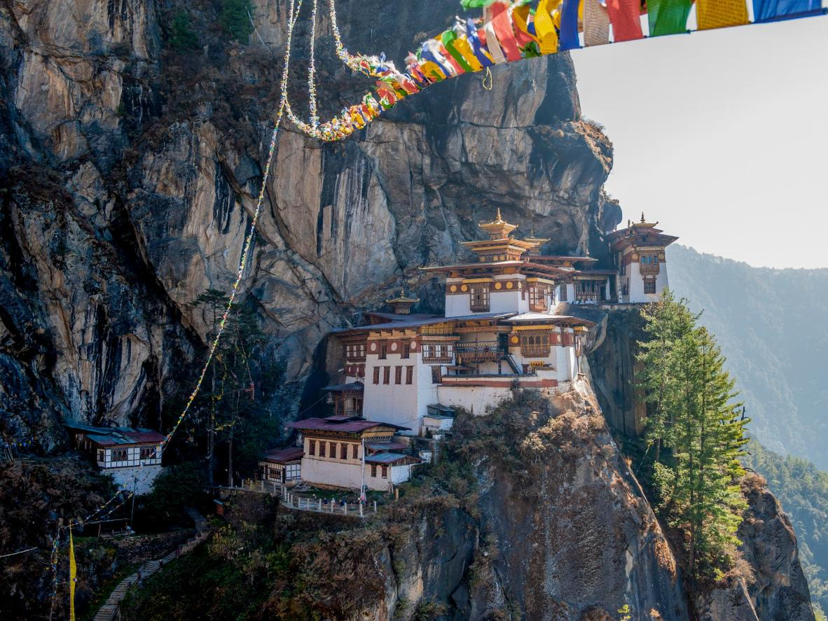 Taktsang Monastery sits 900 metres above the ground