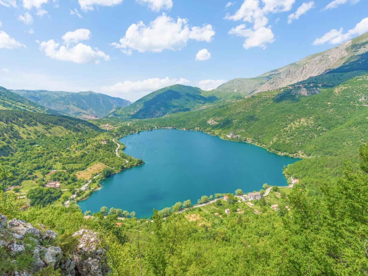 The heart-shaped Lago di Scanno, amid Italy's Apennine Mountains