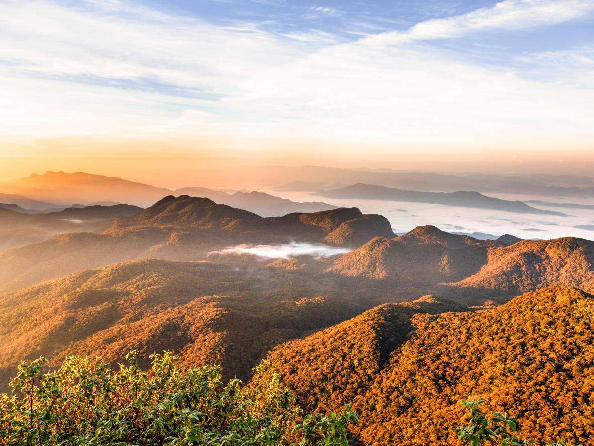 At the top of conical mountain, Adam's Peak, the sunrises are quite something