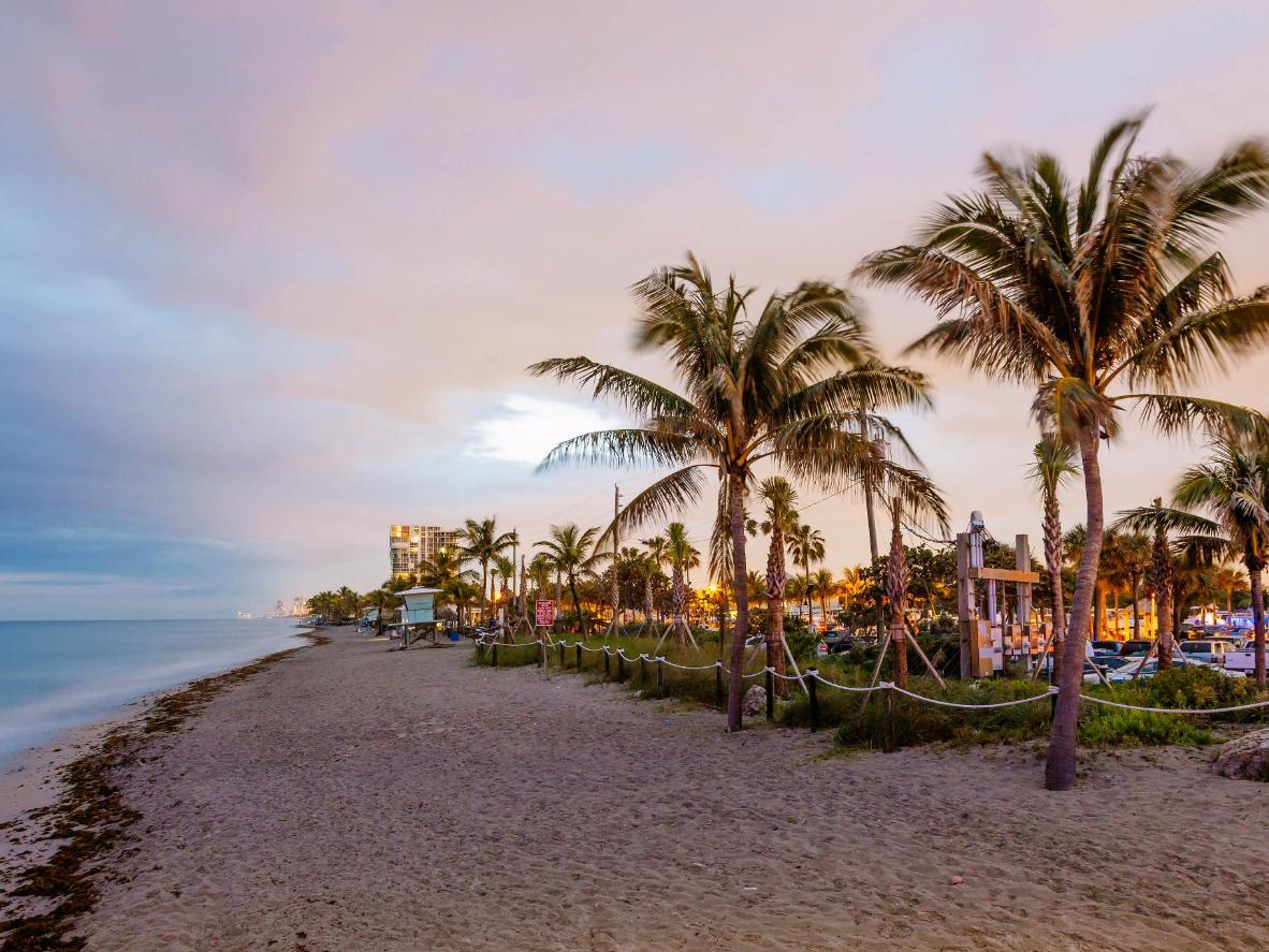 Have a drink on Dania Beach at dusk for a quieter start to the night
