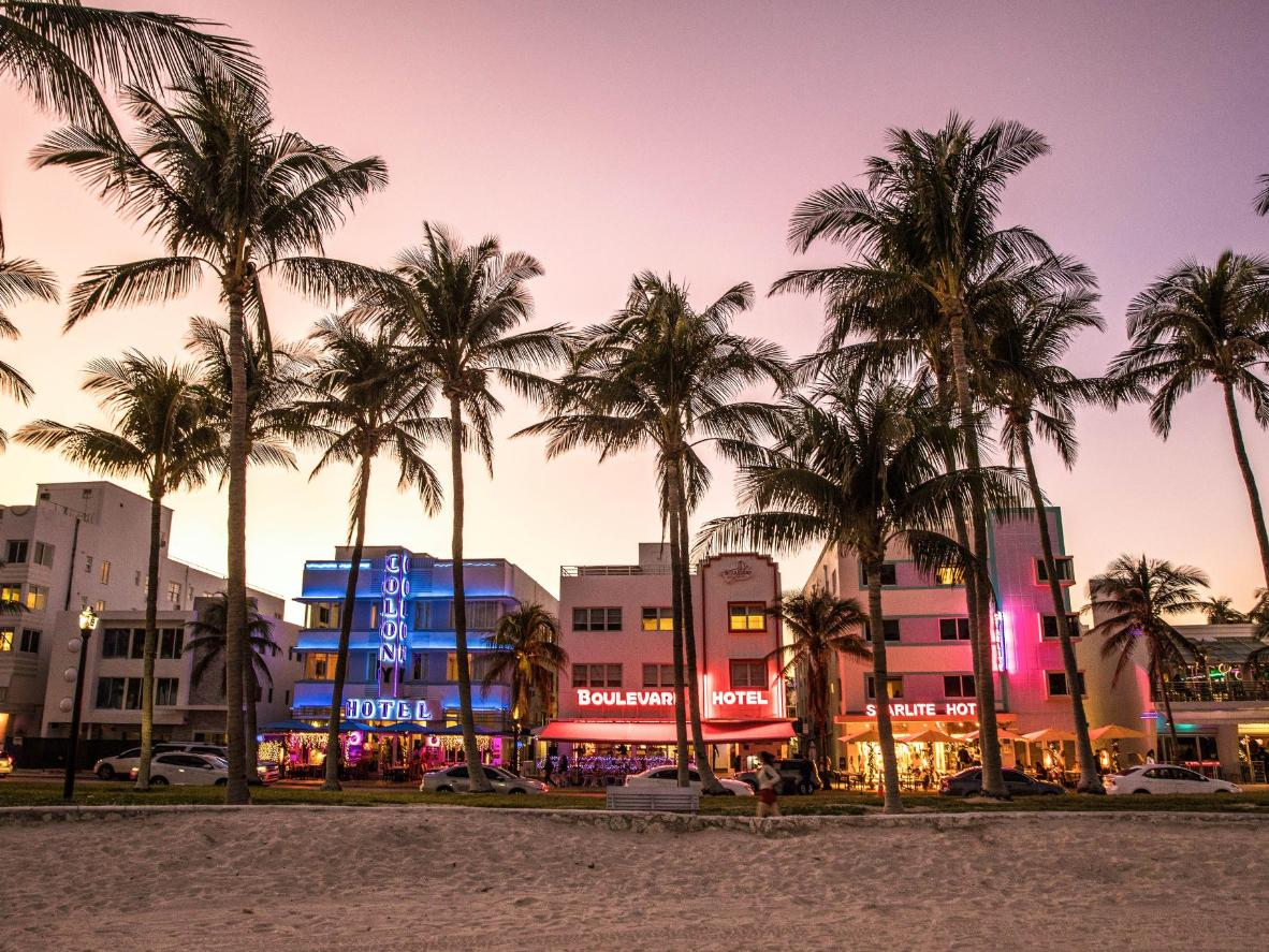 Head along Ocean Drive for a sultry and glittery shot of Miami Beach