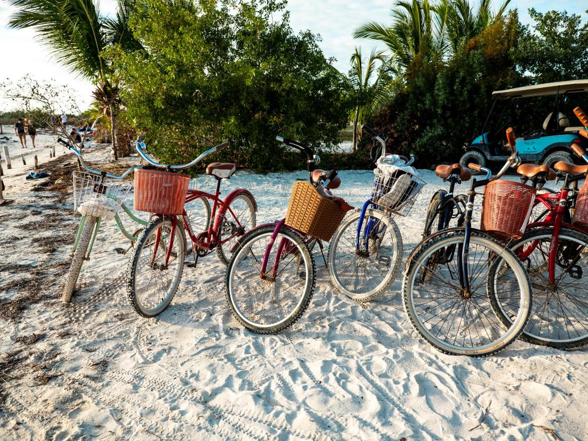 The island is car-free, with bikes and golf carts the only form of motorized transport