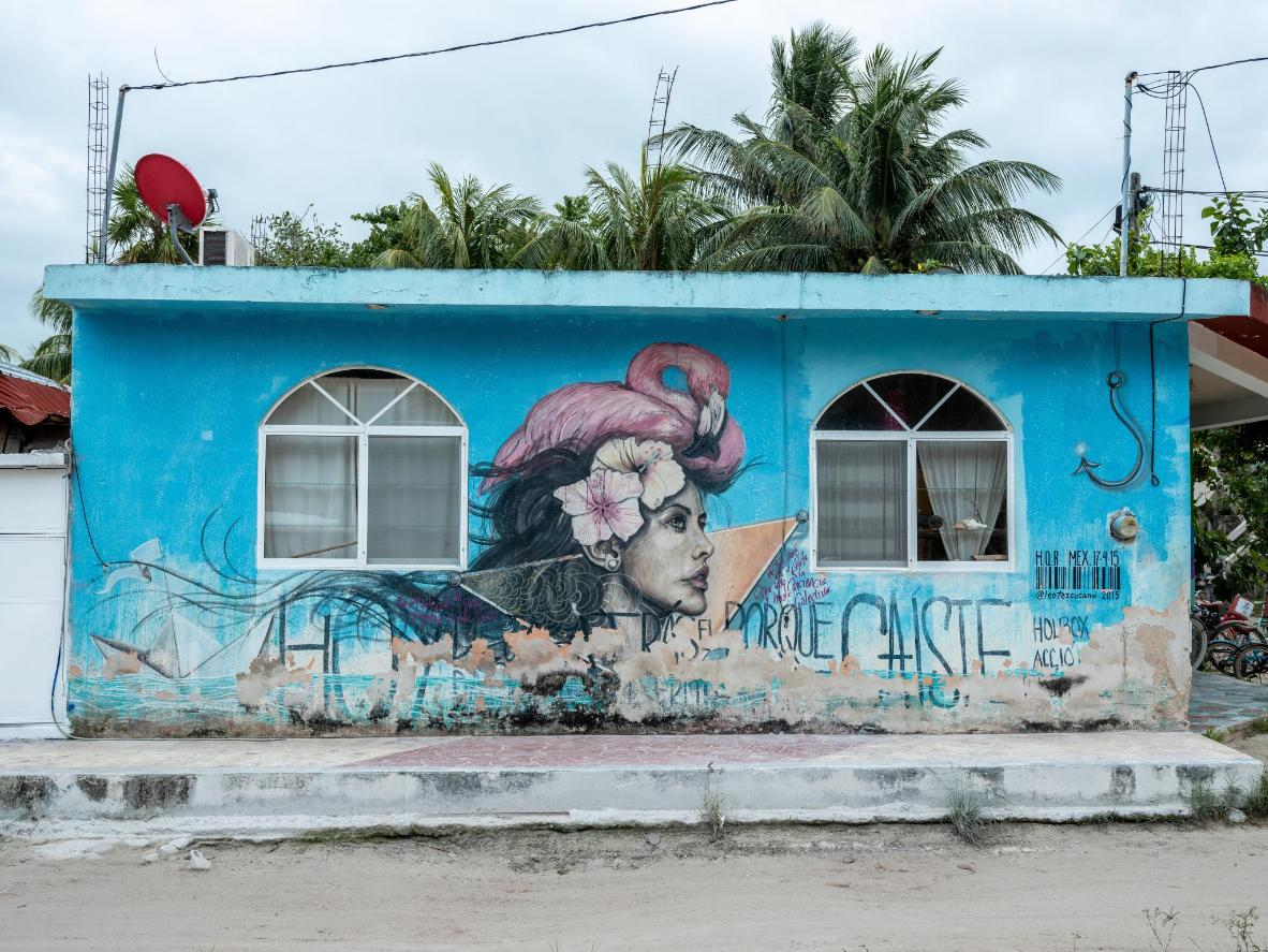 A mural depicting the island's most famous resident, the flamingo