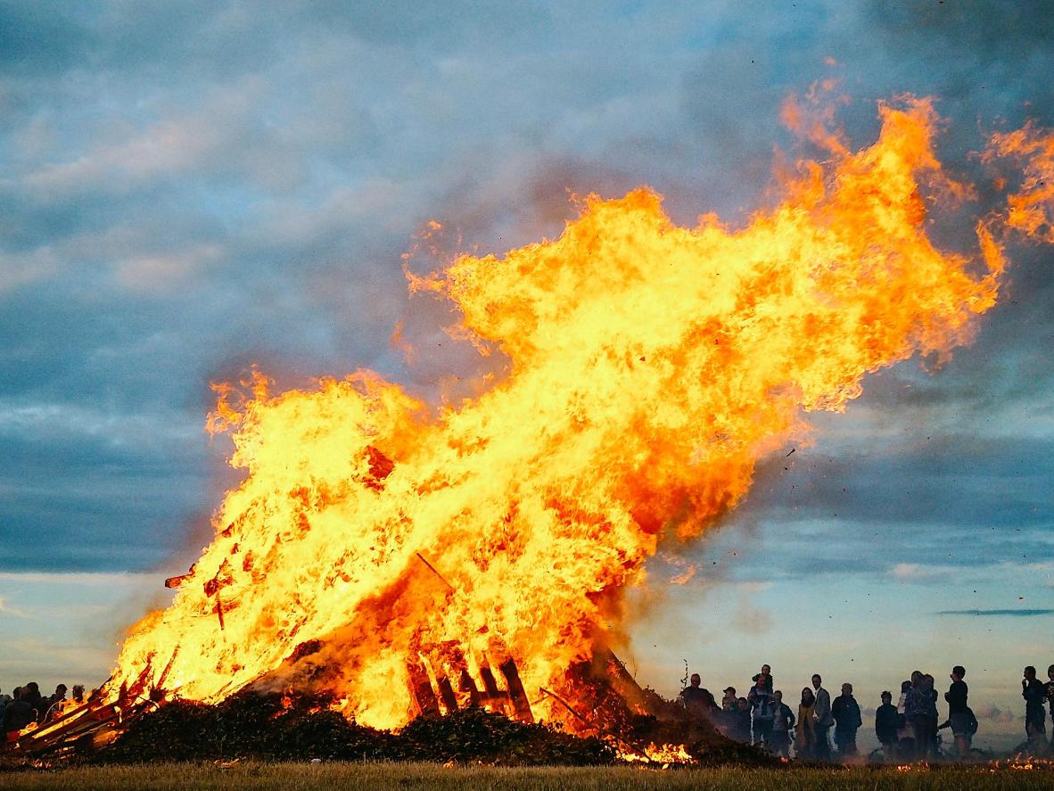 Bonfires are lit all along the Danish coast
