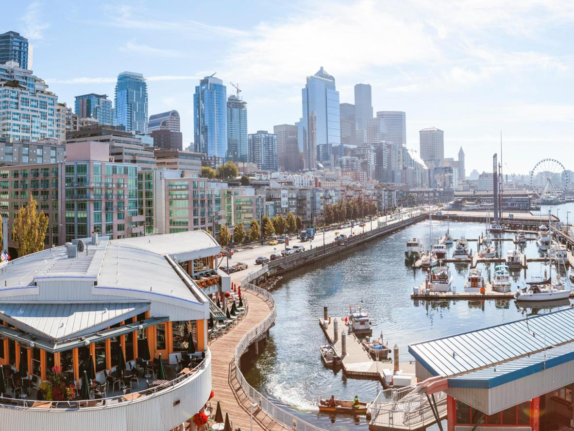 Explore Seattle's downtown and waterfront districts, including the acccessible Pike Place Market