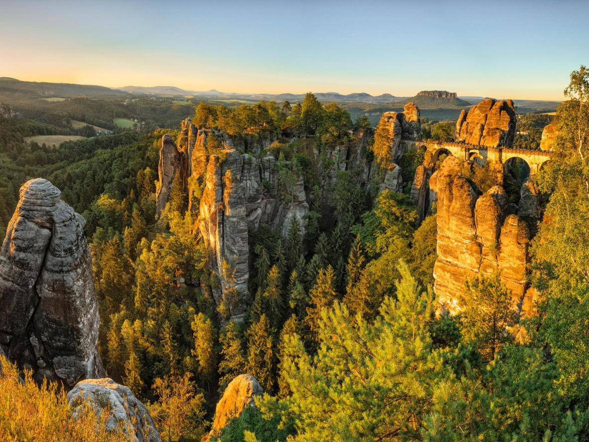 The Bastei bridge and rock formation in the Saxon Switzerland National Park