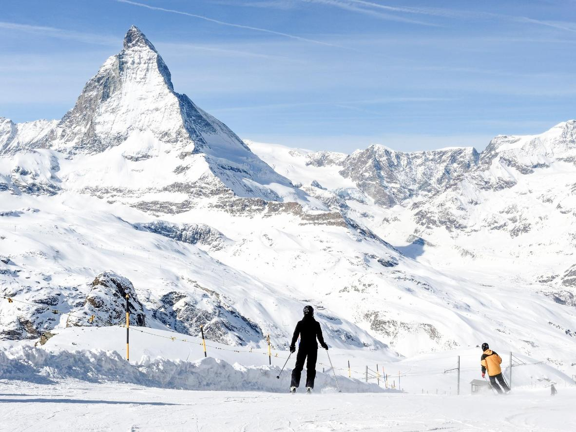 Enjoy late season skiing around the pyramid-shaped peak of the Matterhorn