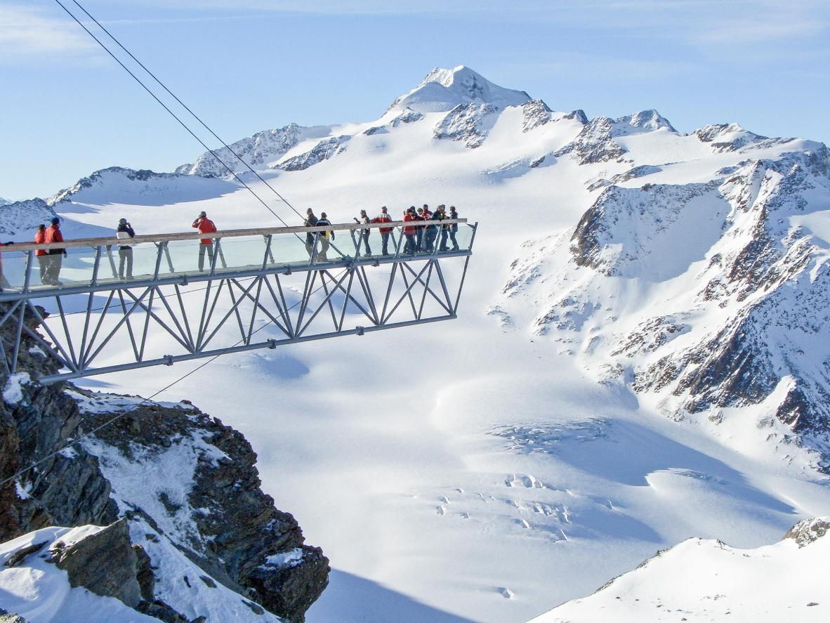 Check out the snow-covered scenery from Sölden's glacier viewing platform