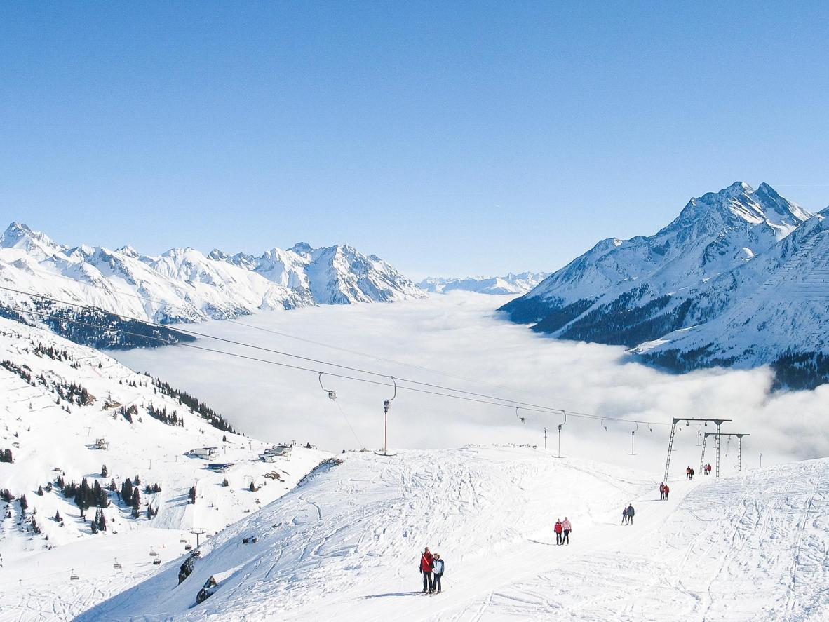 Blue skies and plenty of snow in St. Anton, a resort nicknamed the 'cradle of Alpine skiing'