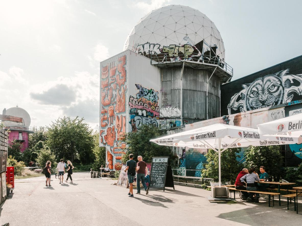 On the Teufelsberg, gray history meets colorful present